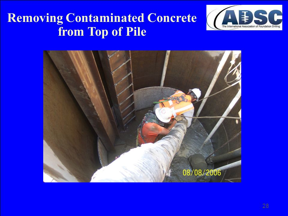 Removing Contaminated Concrete from Top of Pile