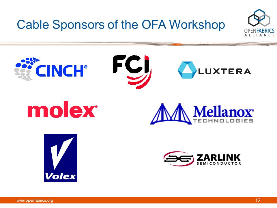 Cable Sponsors of the OFA Workshop