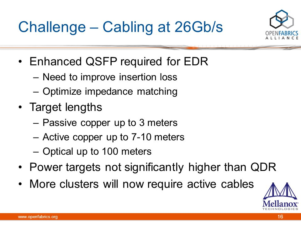 Challenge – Cabling at 26Gb/s