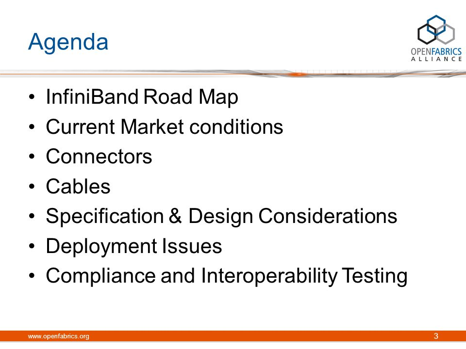 Agenda InfiniBand Road Map Current Market conditions Connectors Cables