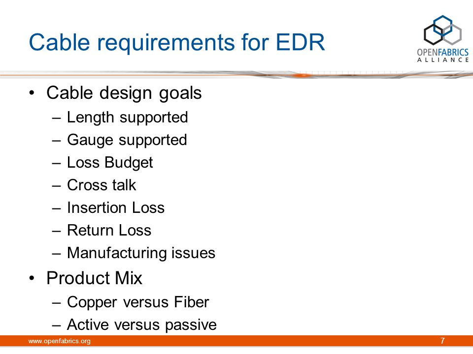 Cable requirements for EDR