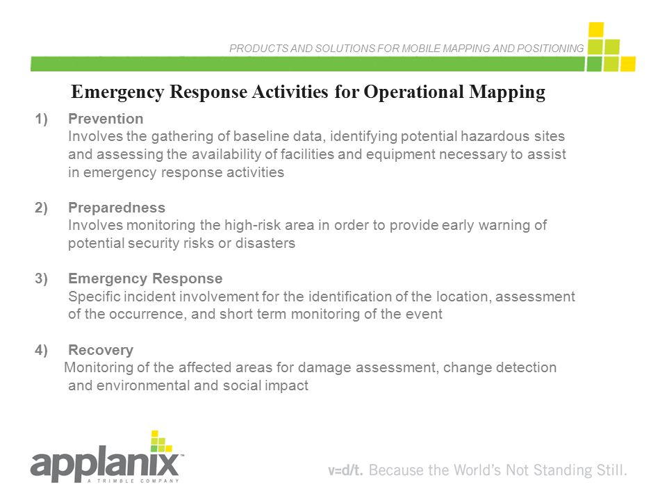 Emergency Response Activities for Operational Mapping