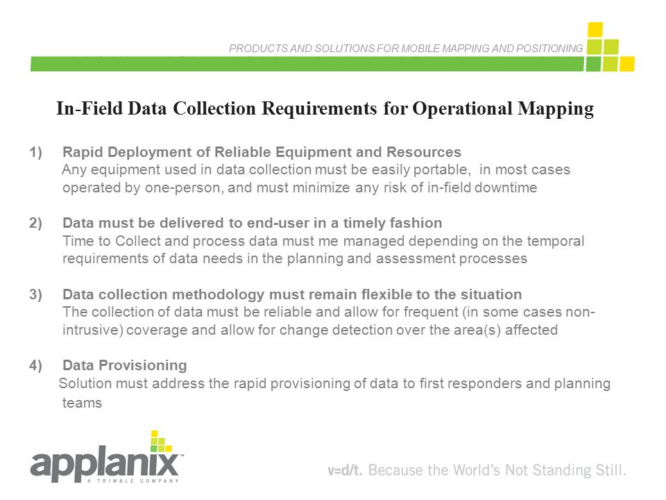 In-Field Data Collection Requirements for Operational Mapping