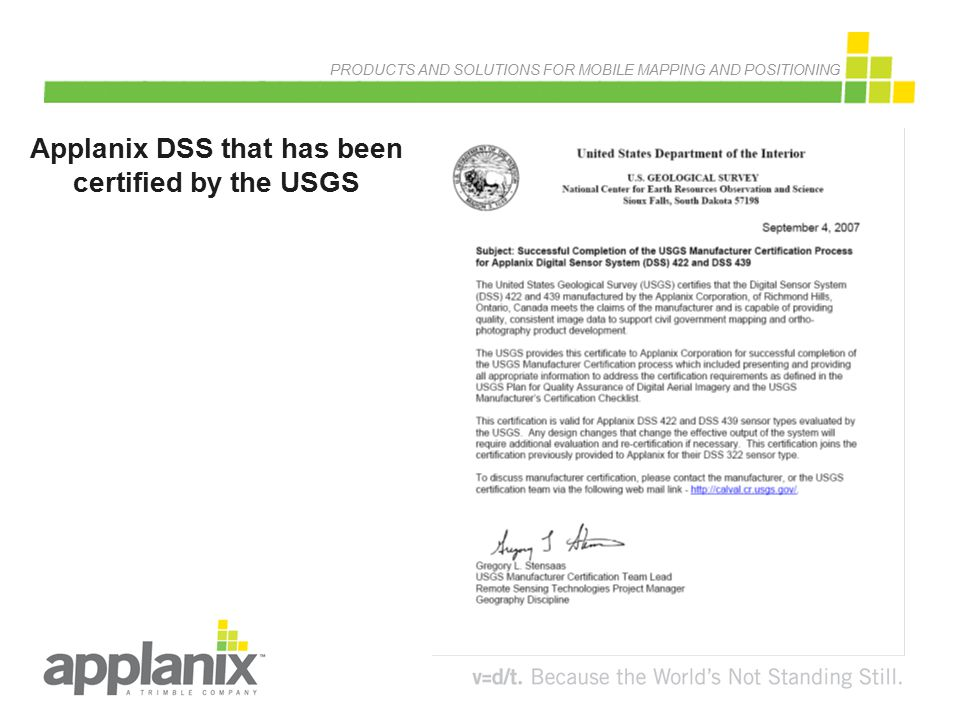 Applanix DSS that has been certified by the USGS