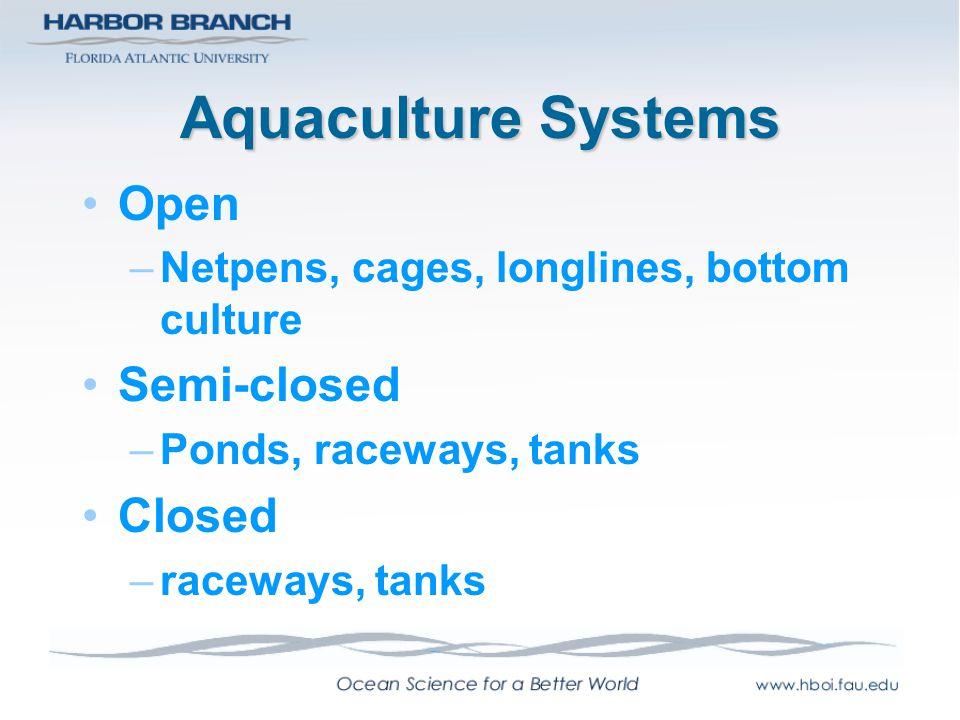 Aquaculture Systems Open Semi-closed Closed