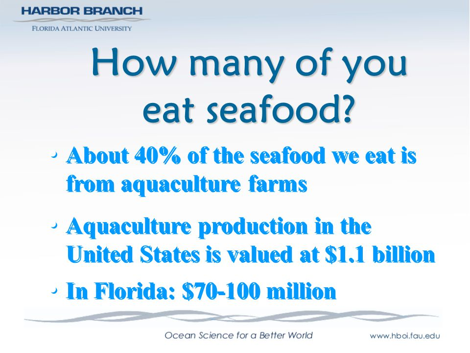 How many of you eat seafood