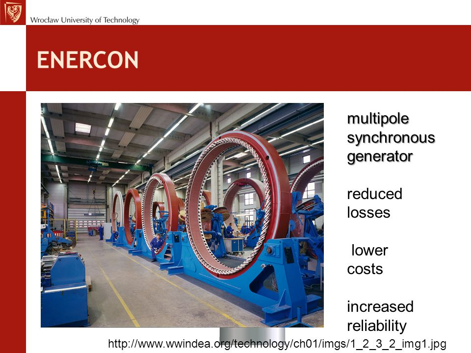 ENERCON multipole synchronous generator reduced losses lower costs