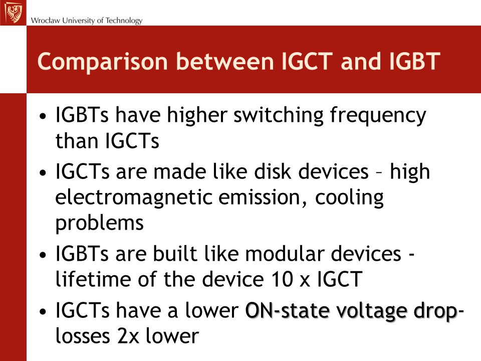 Comparison between IGCT and IGBT