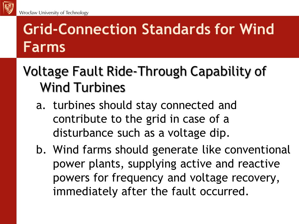 Grid-Connection Standards for Wind Farms