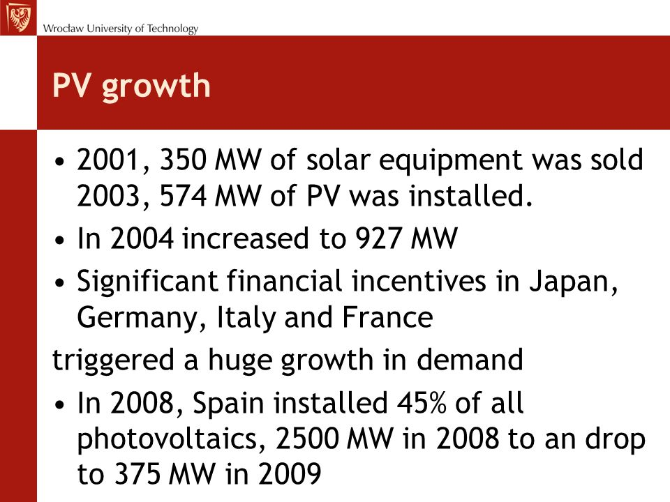 PV growth 2001, 350 MW of solar equipment was sold 2003, 574 MW of PV was installed. In 2004 increased to 927 MW.