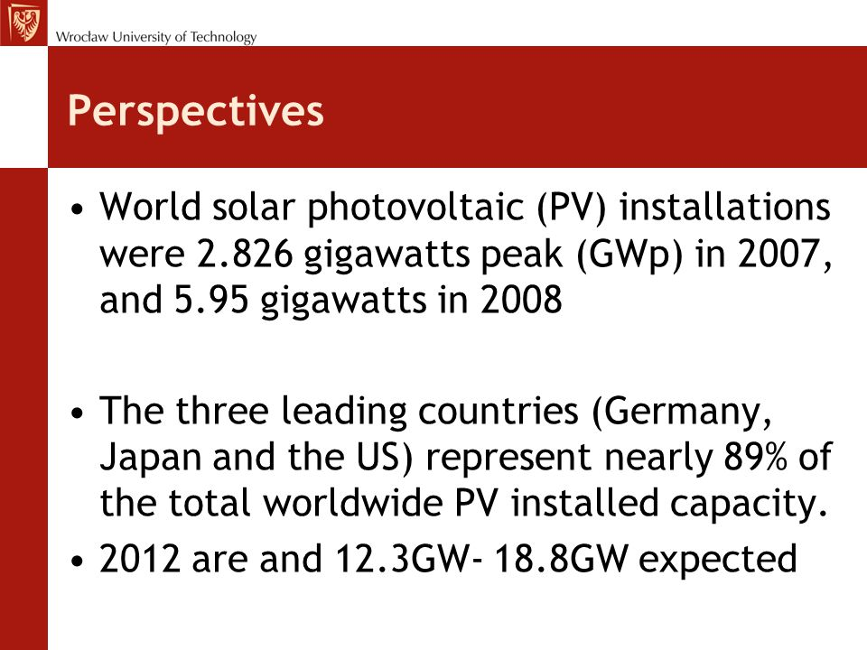 Perspectives World solar photovoltaic (PV) installations were 2.826 gigawatts peak (GWp) in 2007, and 5.95 gigawatts in 2008.