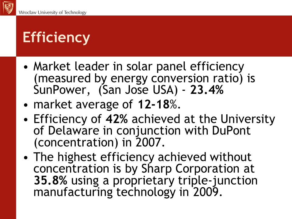 Efficiency Market leader in solar panel efficiency (measured by energy conversion ratio) is SunPower, (San Jose USA) - 23.4%