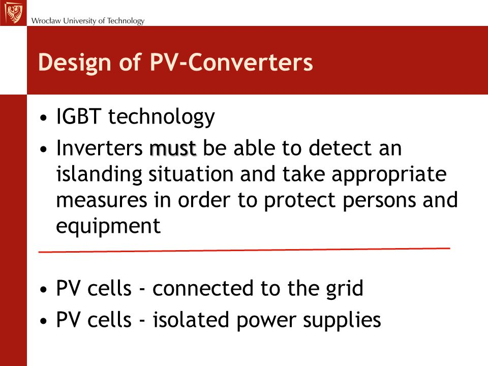Design of PV-Converters