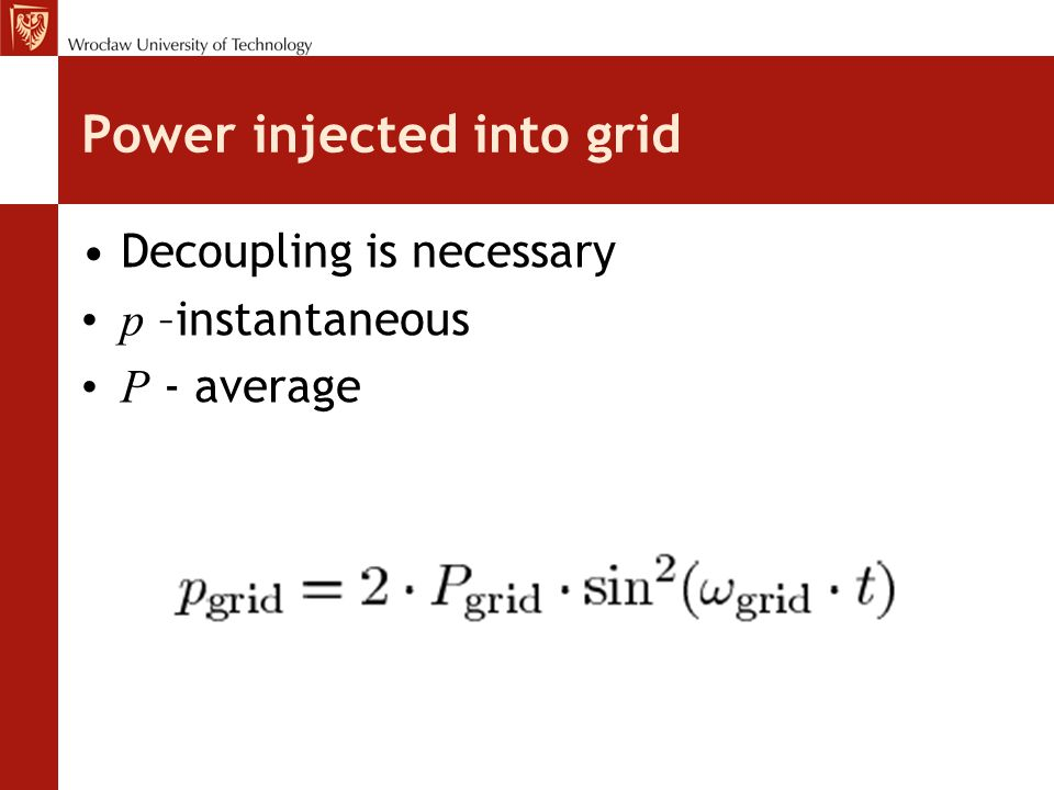 Power injected into grid