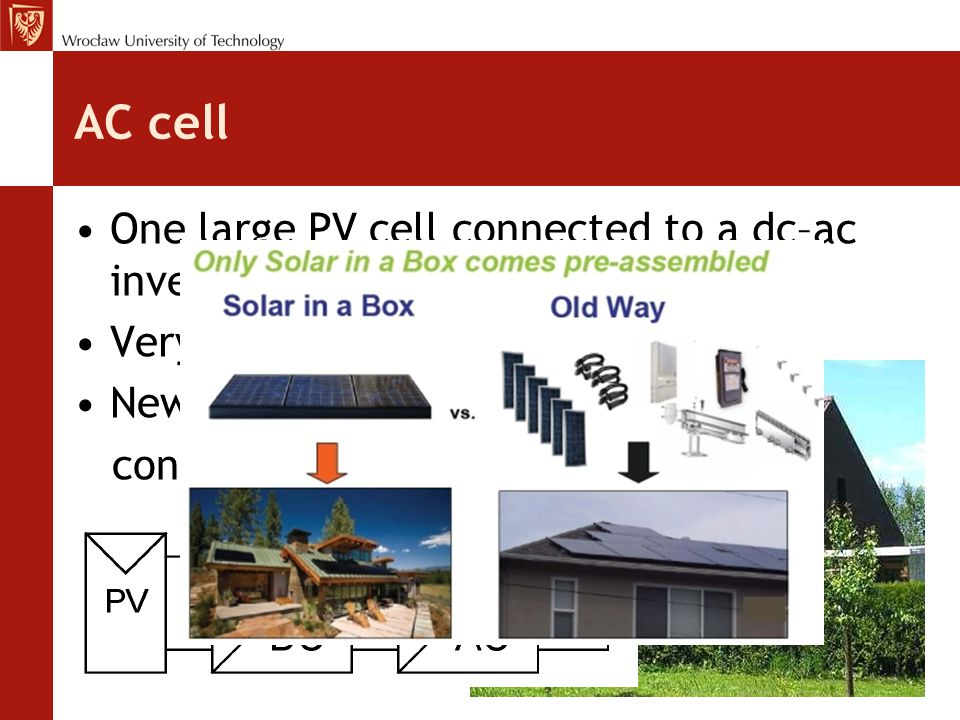 AC cell One large PV cell connected to a dc–ac inverter