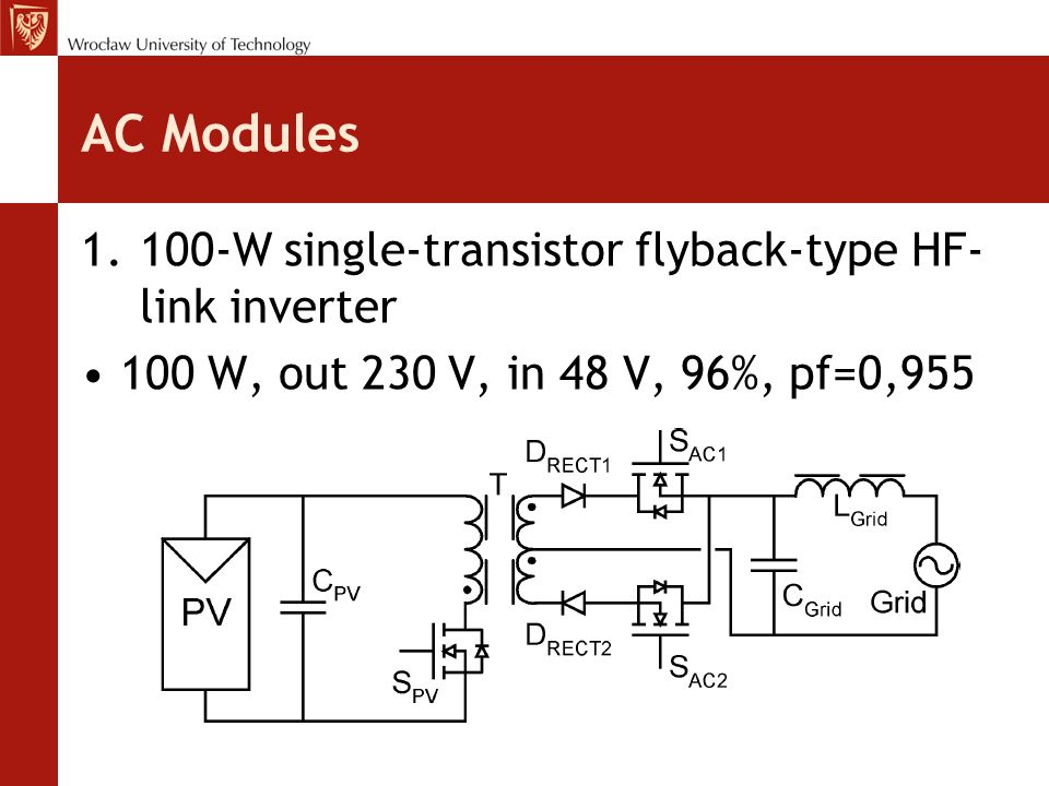 AC Modules 100-W single-transistor flyback-type HF-link inverter