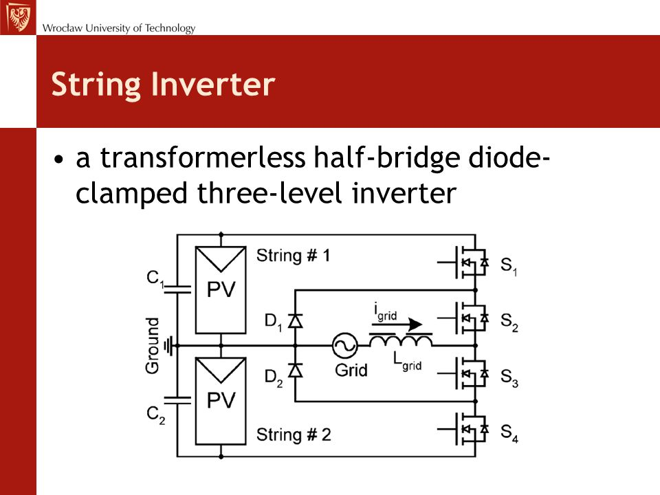String Inverter a transformerless half-bridge diode-clamped three-level inverter.