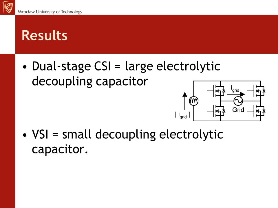 Results Dual-stage CSI = large electrolytic decoupling capacitor