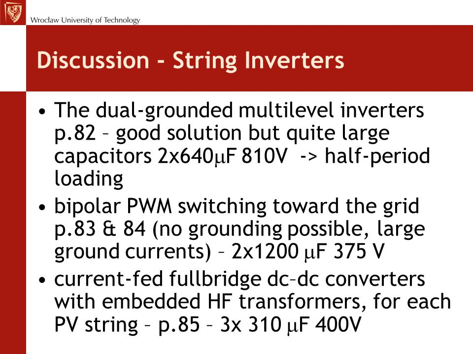 Discussion - String Inverters
