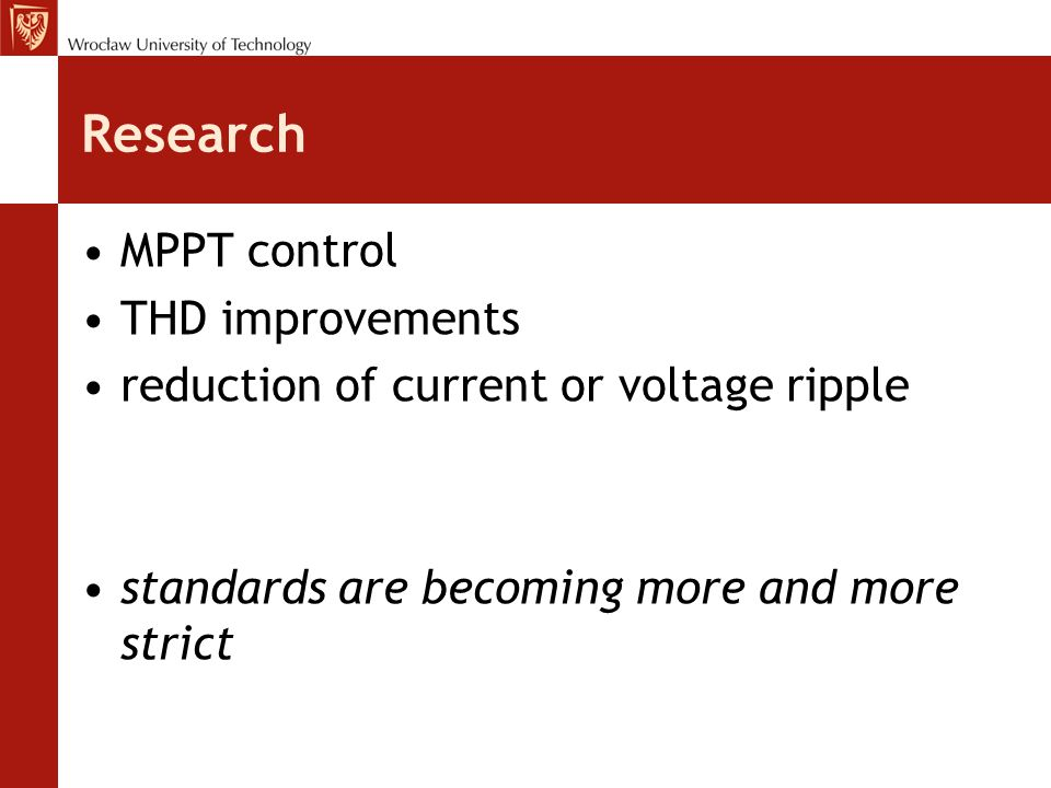 Research MPPT control THD improvements