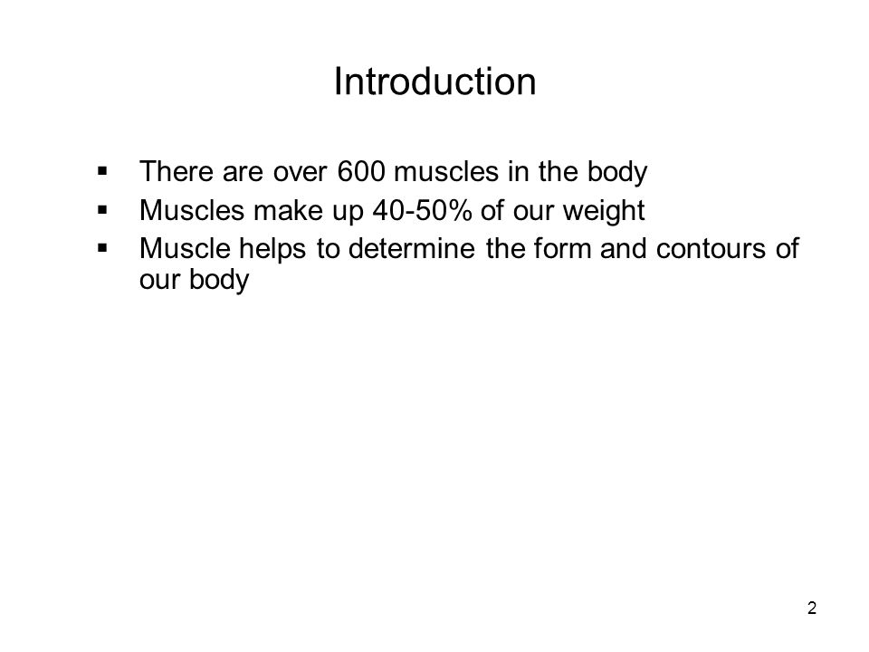 Introduction There are over 600 muscles in the body