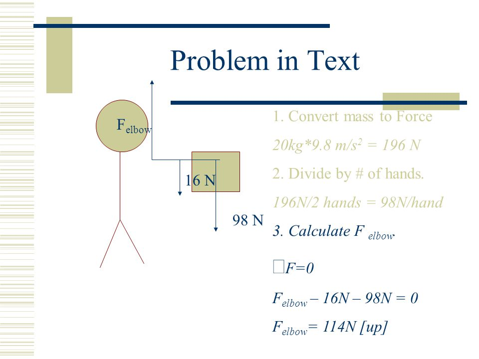 Problem in Text åF=0 1. Convert mass to Force Felbow