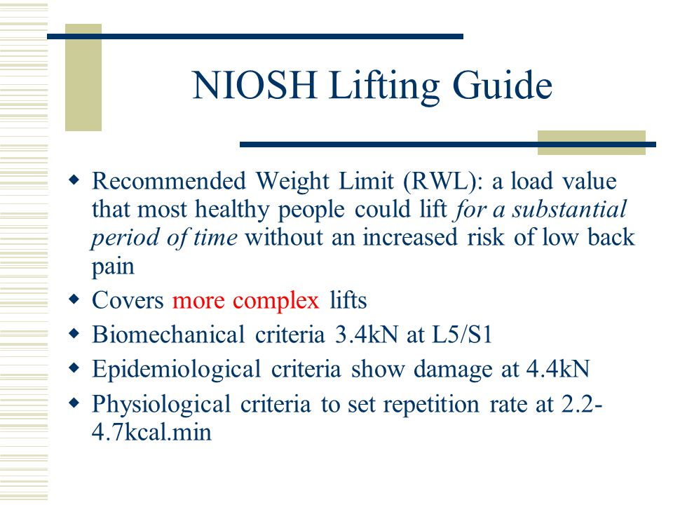 NIOSH Lifting Guide