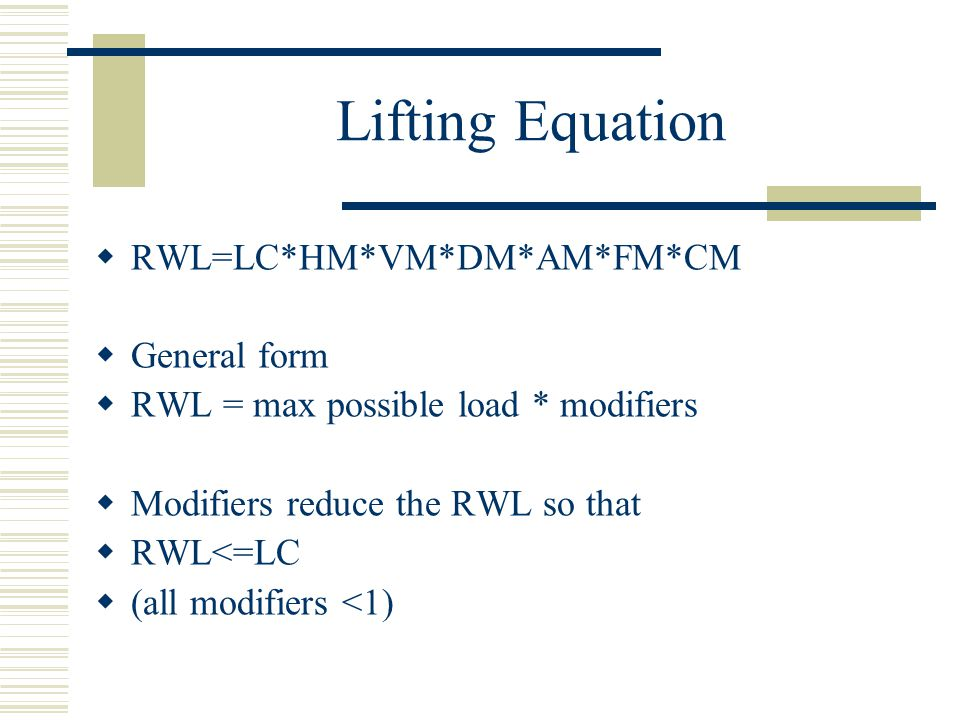 Lifting Equation RWL=LC*HM*VM*DM*AM*FM*CM General form