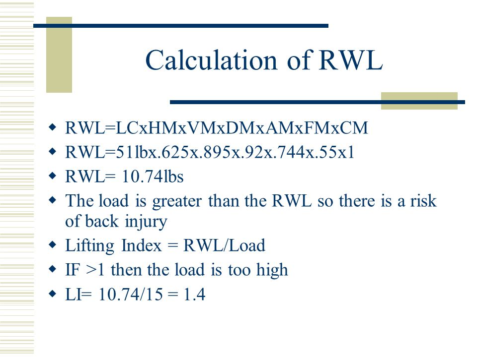 Calculation of RWL RWL=LCxHMxVMxDMxAMxFMxCM