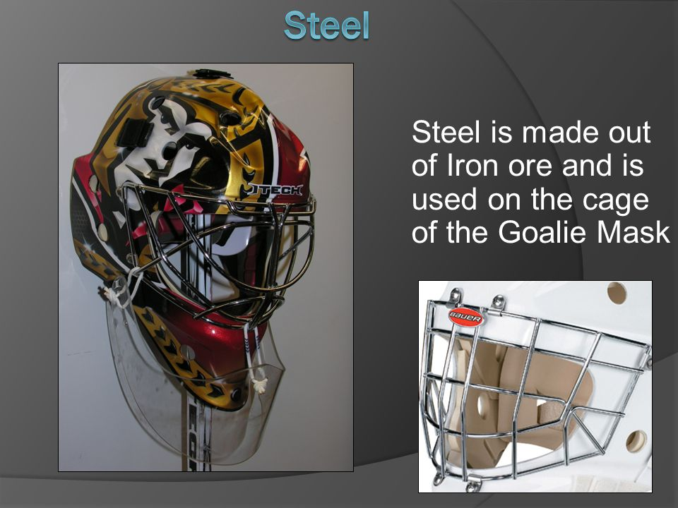 Steel Steel is made out of Iron ore and is used on the cage of the Goalie Mask