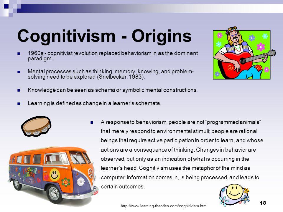 Cognitivism - Origins 1960s - cognitivist revolution replaced behaviorism in as the dominant paradigm.