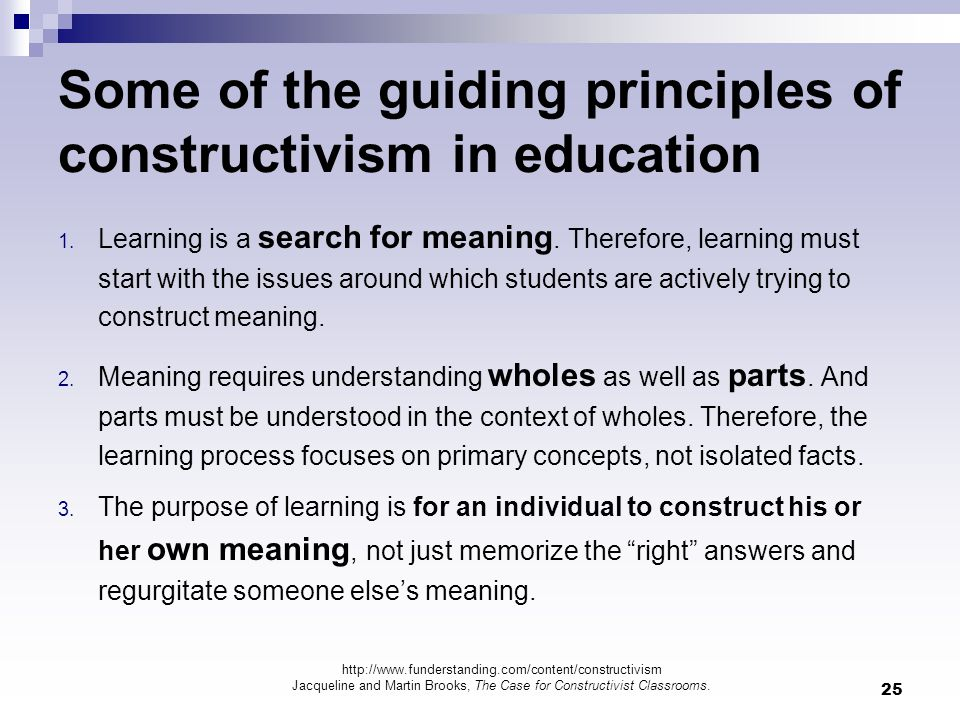 Some of the guiding principles of constructivism in education