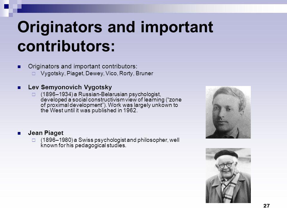 Originators and important contributors: