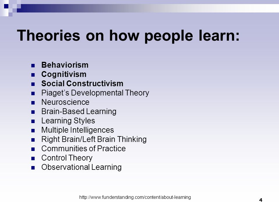 Theories on how people learn: