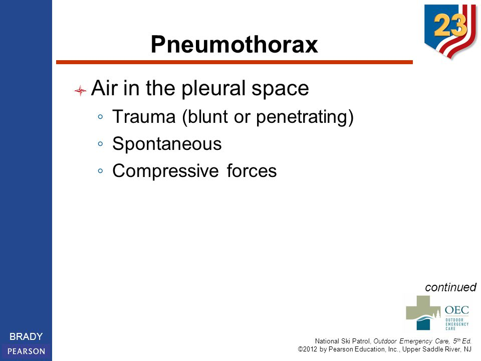 Pneumothorax Air in the pleural space Trauma (blunt or penetrating)