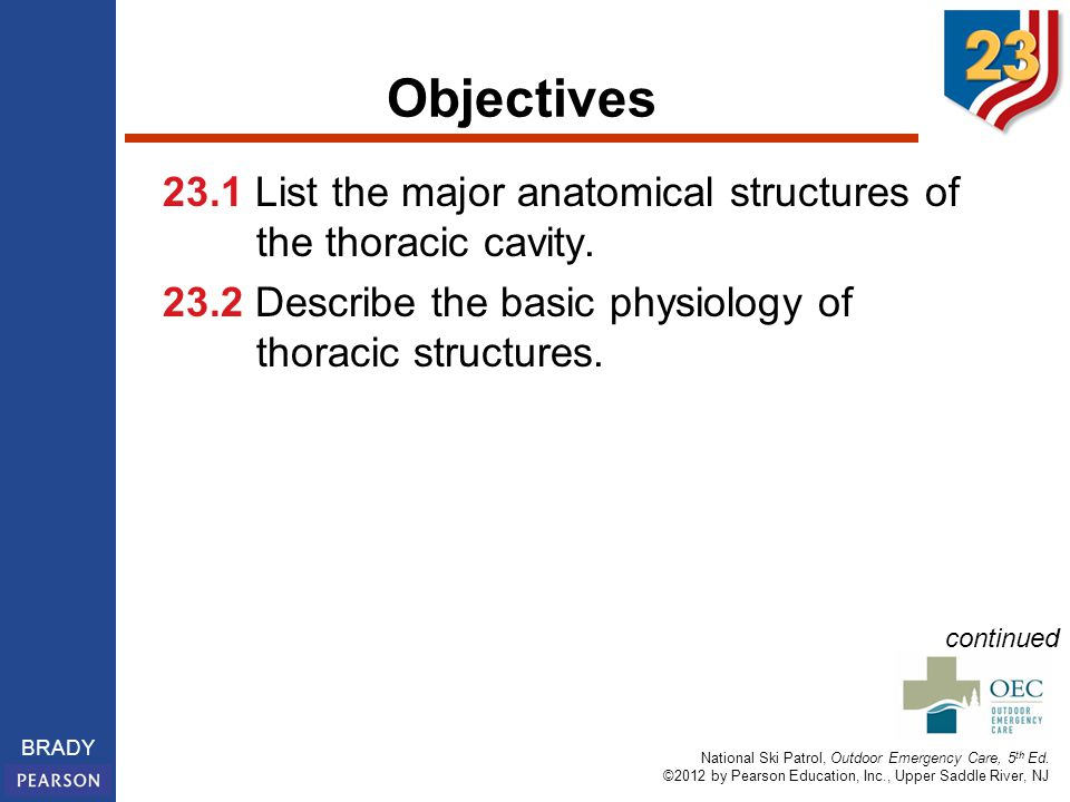 Objectives 23.1 List the major anatomical structures of the thoracic cavity. 23.2 Describe the basic physiology of thoracic structures.