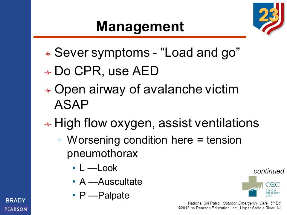 Management Sever symptoms - Load and go Do CPR, use AED