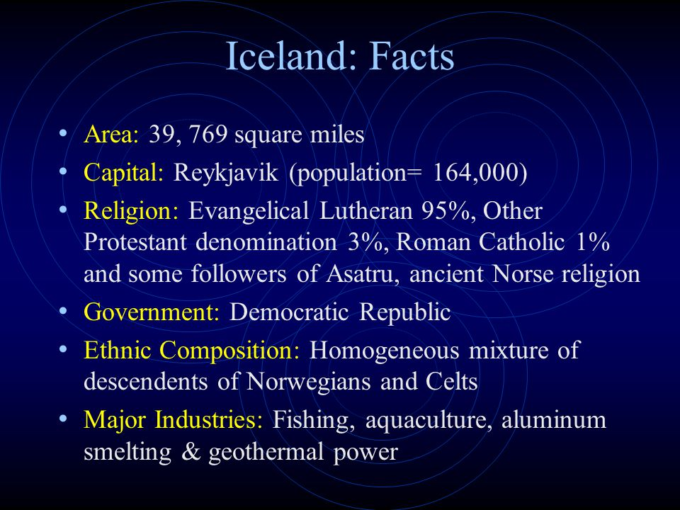 Iceland: Facts Area: 39, 769 square miles