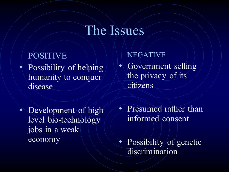 The Issues POSITIVE Possibility of helping humanity to conquer disease
