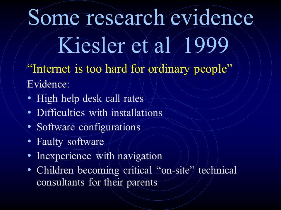 Some research evidence Kiesler et al 1999