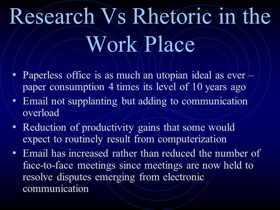 Research Vs Rhetoric in the Work Place