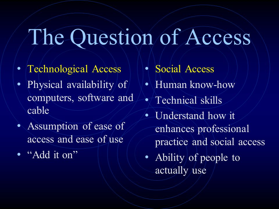 The Question of Access Technological Access