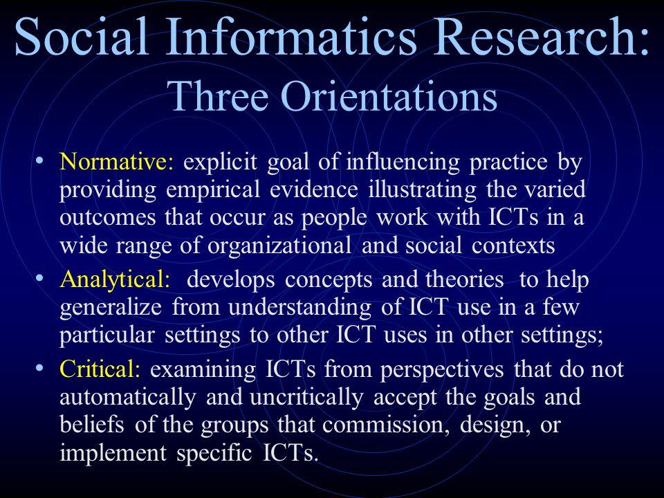 Social Informatics Research: Three Orientations