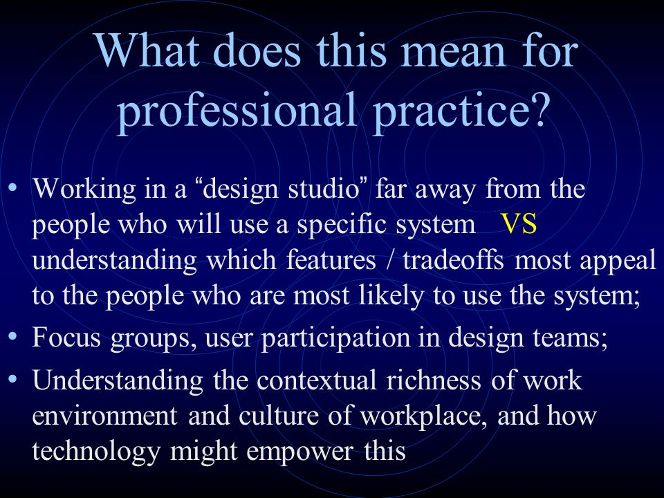 What does this mean for professional practice