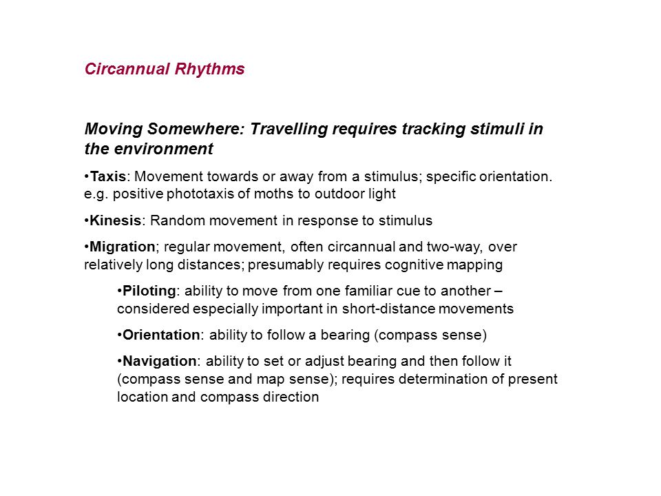 Circannual Rhythms Moving Somewhere: Travelling requires tracking stimuli in the environment.
