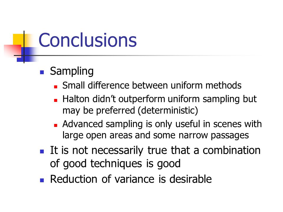 Conclusions Sampling. Small difference between uniform methods. Halton didn't outperform uniform sampling but may be preferred (deterministic)