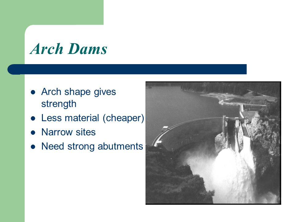Arch Dams Arch shape gives strength Less material (cheaper)