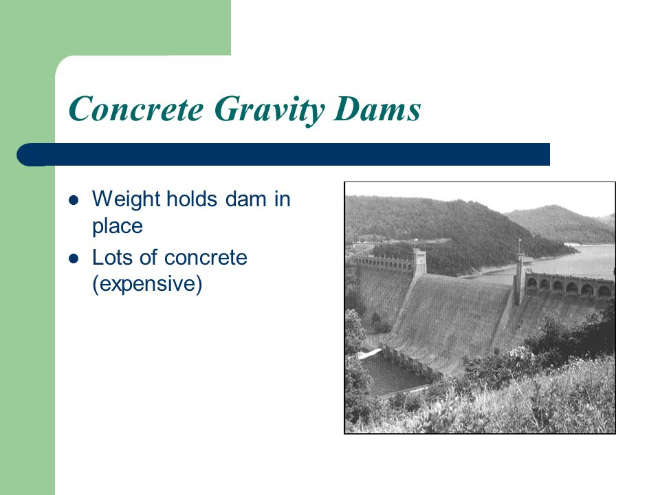 Concrete Gravity Dams Weight holds dam in place