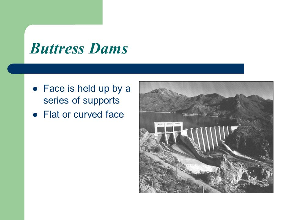 Buttress Dams Face is held up by a series of supports