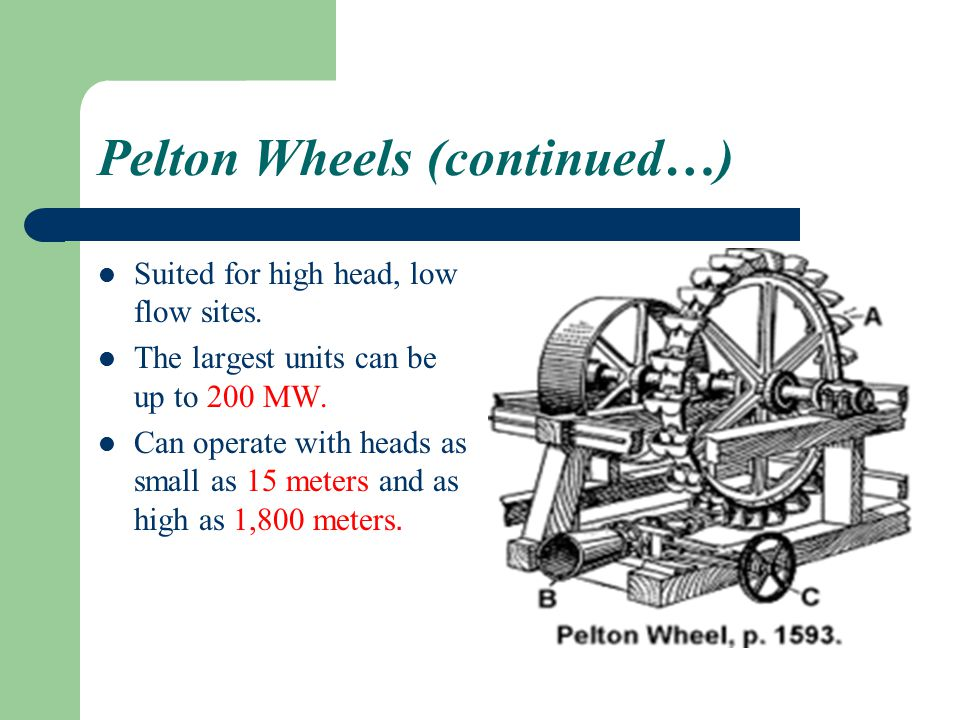 Pelton Wheels (continued…)